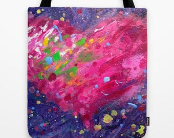 Playful Heart Canvas Tote Bag with original artwork painted on both sides