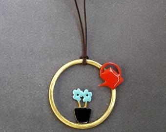 Brass Jewellery,Flower Jewelry,Enamel Necklace,Enamel Jewelry,Pendant Necklace,Gift for her,Brass Necklace,Modern Jewellery