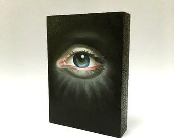 Lover's Eye Oil Painting on wood Lowbrow Pop Art all seeing eye / evil eye / third eye / witchy woman / memento mori
