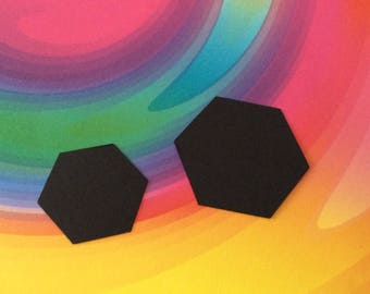 24 Large black hexagons OR 40 medium black hexagons hand punched paper punches, halloween confetti, party confetti, craft projects.