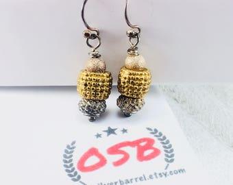 Sterling Silver bead earrings, southwestern earrings, gold bead earrings, bali earrings, boho earrings, copper earrings, gift for her