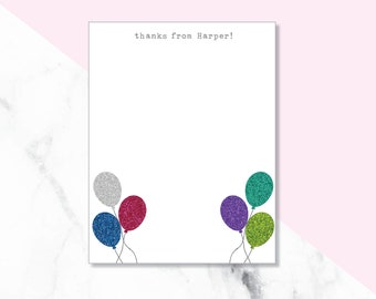 Glitter Balloon Thank You Cards/ Glitter Balloon Stationery/ Thank you note cards