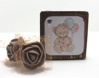 Teddy Bear Decorative Gift Block, Small Teddy Wooden Block, Watercolour Teddy Gift, Mother's Day Present, Gifts For Her, Teddy Home Decor