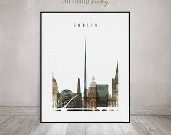 Dublin art print, watercolor Poster, Travel, Wall art, Ireland cityscape, Dublin skyline, City prints, Urban, Home Decor ArtPrintsVicky