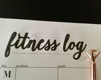 Fitness Log Printable (Black)