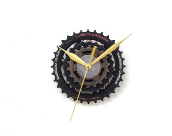 Steampunk Clock, Unique Wall Clock, Bike Clock, Industrial Clock, Small Wall Clock, Boyfriend Gift, Husband Gift, Cyclist Gift, Metal Clock