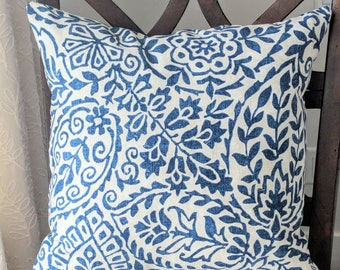 Blue and Ivory Cushion Cover. Multiple sizes available.