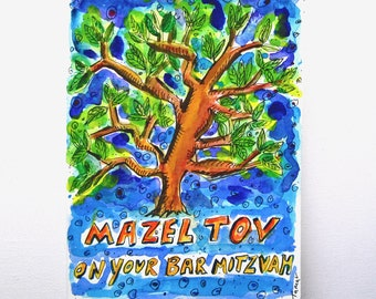 Bar Mitzvah Card, Tree of Life, Hand Painted Card, Mazel Tov, Tree of Life Painting, Jewish Cards, Handmade Card, Original painting, Judaic