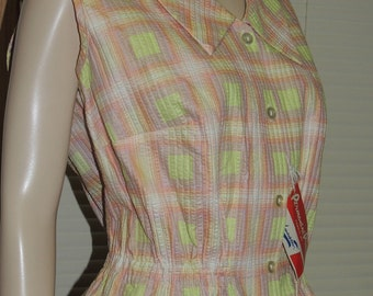 1950s Old Store Stock Fitted Waist Blouse size L by M Lowenstein New York
