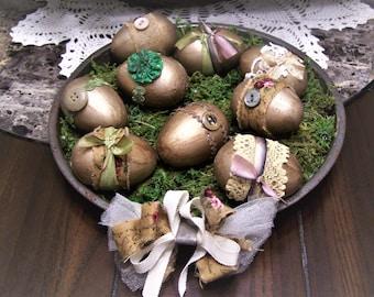 Nine Shabby, Primitive, Rustic, Farmhouse, Easter Eggs, Vintage Pan
