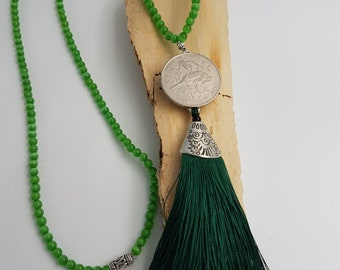 Green necklace with tassel
