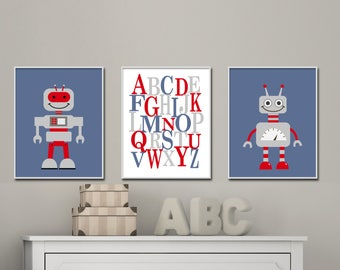 Robots Wall Art, Robot set of 3 prints includes two Robots with Alphabet print, Suits boys bedroom blue and red decor, Modern Wall Art -H378