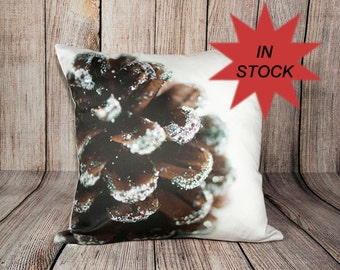 Holiday Photo Pillow Case, Decorative Brown Christmas Throw Cushion Cover, Pine Cone Photography, White Festive Decor, Handmade Gift For Mom