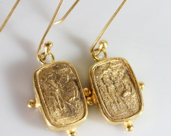 Bronze Intaglio Earring Handmade 925K Sterling Silver Earring 18K Gold Plated Over Silver