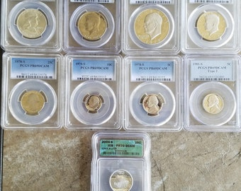 1954-D PCGS Graded MS64 Franklin Half Dollar Plus 8 More Graded Coins, BU and Circulated Coins for a total of 66 Coins