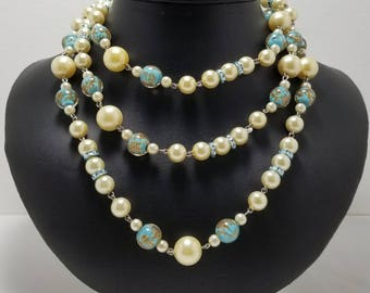 Venetion Glass And Faux Pearl Necklace