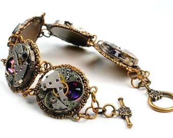 Steampunk Five Vintage Watch Movement N Amethyst Bracelet