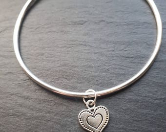 Sterling Silver Bangle with Dotty Heart Charm
