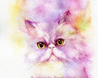 Kitty Loves - ORIGINAL watercolor painting 7.5x11 inches
