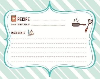 Digital Recipe Cards, Recipe, Teal Recipe Cards, Printable Recipes