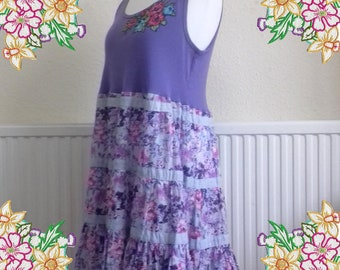 1X 2X Lavender and mauve cotton tunic dress.  Upcycled Refashioned Preloved Eco Clothing.  Recycled Fashion. extra large