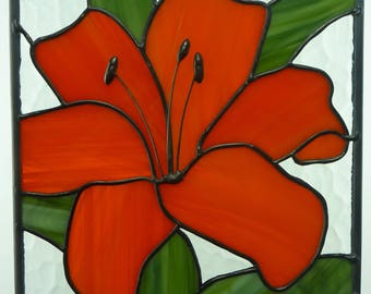 Stained Glass Orange Lily Blossom