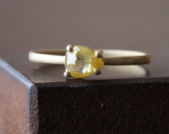 Natural Rose Cut Yellow Diamond Ring