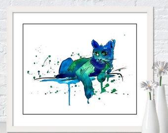 Cat Art Print Watercolor Painting Cat Print Wall Decor Wall Art