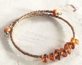 EcoFriendly Boho Bracelet Amber Acrylic Gemstone