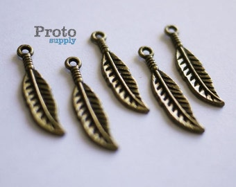 Earrings Antique Bronze Feather Pendant Charm 10pcs (0510)