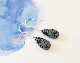 Snowflake obsidian earrings | gift for mom | gift for her | gemstone earrings | black spinel jewelry | snowflake obsidian | bestselling gift