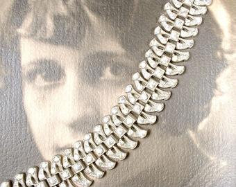 Antique French Paste Art Deco Bracelet, 1930's Pave Rhinestone WIDE Link Statement Silver 1920s Gatsby Flapper Bridal Vintage Wedding Cuff