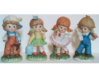 Homco Figurines Boy and Girl with Rabbits and Boy and Girl with Birds Vintage Porcelain Set of 4 Retired 1424