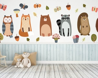 Woodland Nursery Woodland Nursery Decals Animal Wall Decals Nursery Wall Decals Woodland Animal Wall Art  sc 1 st  Etsy : woodland creatures wall decals - www.pureclipart.com