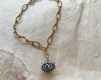 Gold-fill Chain Bracelet with Lavender Eye Bead