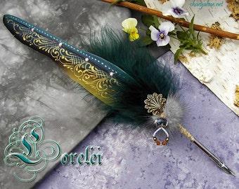 The LORELEI Siren Mermaid Macaw Feather Quill Pen