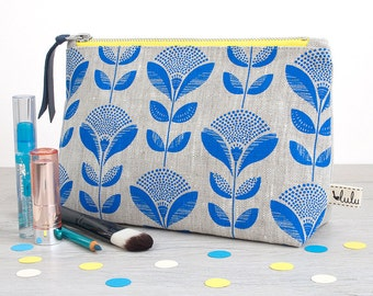 Large makeup bag/ cosmetic bag with blue dandelion print