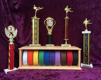 Martial Art Belt Display, karate belt case, martial art belt holder, martial arts display shelf, Tae Kwon Do Belt Display, Ten belt display