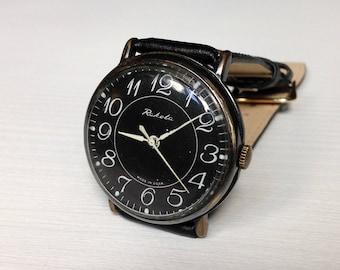 "Soviet watch  ""RAKETA"" Russian watch Men watch Mechanical watch, classic watch, minimal watch, black watch"