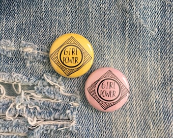 GIRL POWER,  one inch pin back button, girl power pin, girl power button