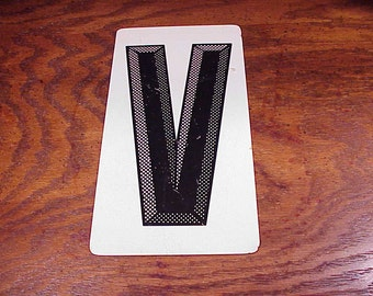 Vintage Black and White Letter V Metal Store Marquee Sign, 9 7/8 Inches Tall, Capital Letter, Shelf Display, Home Decor, Graphic