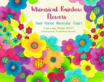 rainbow flowers clipart, watercolor floral graphics, colorful flower clip art, pink and blue