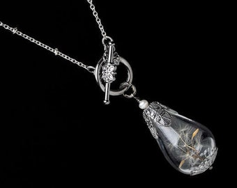 Wish Necklace, Dandelion Necklace with Real Dandelion Seeds in Glass Teardrop Filigree & Genuine Pearl On Silver Chain Wedding Womens Gift
