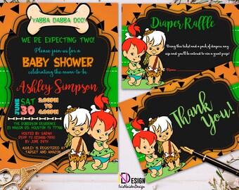 The Flintstones baby shower twins invitation, Pebbles Bam Bam Baby shower Invitation, Flintstones twins Invitation, baby shower set