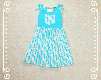 Girls summer dress, Seahorse Dress for girls, Girls turquoise dress, Girls Cruise wear, Little girl dress, Blue dress, Girls summer