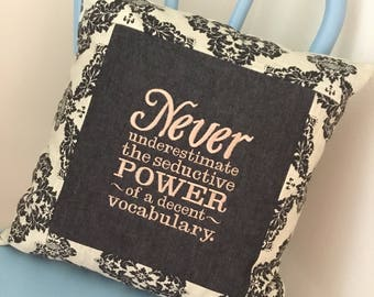 English Teacher. Writer. Words. Grammar. Decent Vocabulary- Embroidered Pillow Cover V01