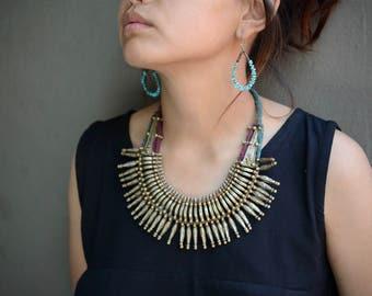 Tharu tribal necklace vintage spike Nepalese stunning handmade brass copper boho ethnic Nepal bohemian nomad golden ethnic