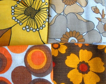 Vintage fabric offcut pack in shades of yellow, orange and brown