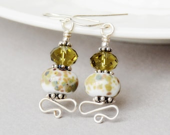 Khaki and Cream Lampwork, Crystal and Sterling Earrings - Happy Shack Designs - Handmade Lampwork Earrings - Khaki and Cream