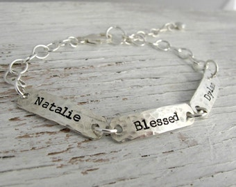 Grandmother Bracelet, Personalized, Mother's Bracelet, Hand Stamped, 2 kids names, 3 kids, 4 kids, Sterling Silver, Mother's Day Gift